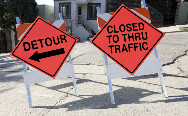 Detour on Booker Avenue during construction