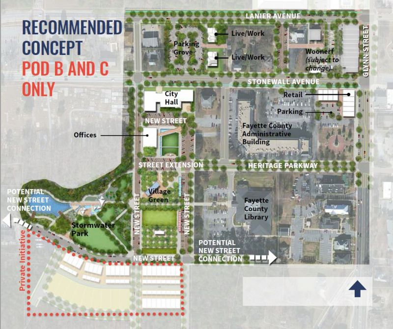 Graphic from Fayetteville shows new city hall site and neighboring areas.