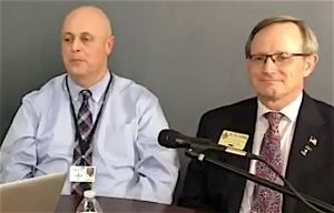 (L-R) Mike Sanders, assistant superintendent of operations, and Dr. Ted Lombard, coordinator for Safety, Athletics and Discipline for the Fayette County School System.