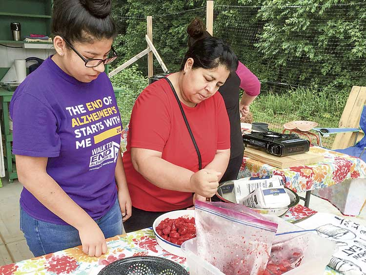 Rohelia and Fatima, both parents of Burch Elementary students, help prepare the strawberries used to make jam. Photo/Sandy Golden.