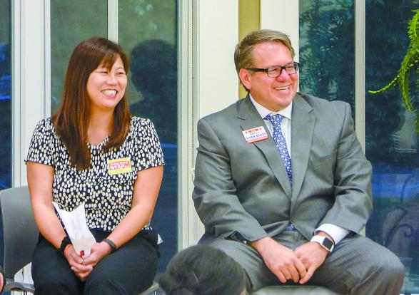 Fayette County Board of Education District 5 candidates Ching Ching Yap (L) and Brian Anderson answer questions at a Sept. 29 forum in Fayetteville. Photo/Ben Nelms.