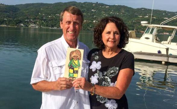 Fred and Carol Bryant took Flat Jesus to Montego Bay, Jamaica