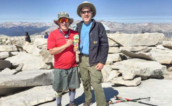 Steve Crowe and Dave Olson took Flat Jesus to the top of Mt Whitney in California