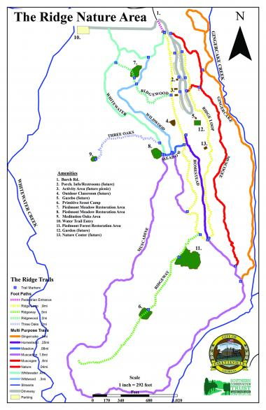 The Ridge Nature Area on Burch Road in Fayetteville managed by Southern Conservation Trust opens on Aug. 13. The map of the 308-acre site outlines the many trails and the current and future amenities. Graphic/Southern Conservation Trust.